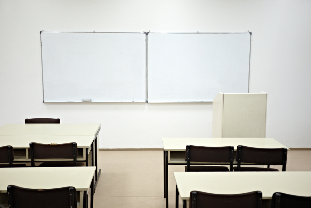 close up of an empty school classroom
