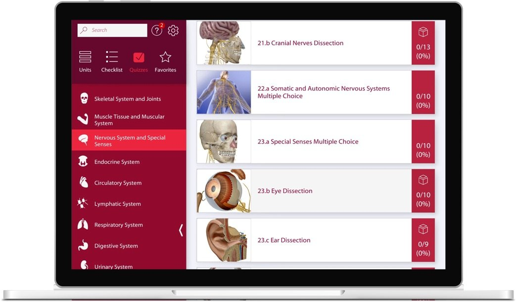 The Anatomy and Physiology app engages students in the core concepts of an undergraduate A&P course.