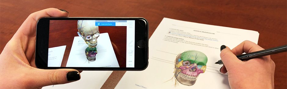 Visible Body showing Augmented Reality with a skull on a table