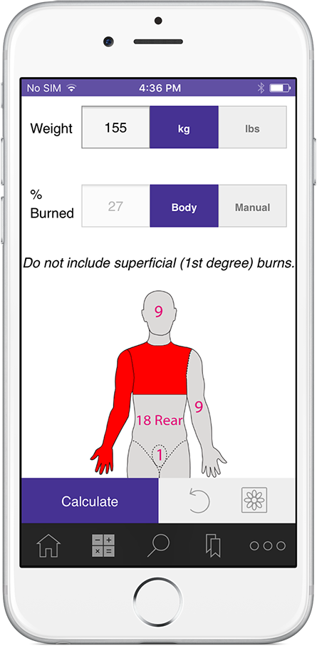 Informed Emergency Critical Care Guide burn calculator