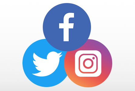 Twitter, Facebook, and Instagram logos