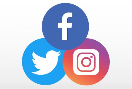 Twitter, Facebook, and Instagram logos